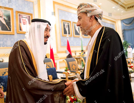 King Salman, Sayyid Shihab bin Tariq Al Said. In this picture provided by the office of the Saudi Press Agency, King Salman of Saudi Arabia, left, welcomes Sayyid Shihab bin Tariq Al Said, Representative of Sultan Qaboos bin Said of Sultanate of Oman upon his arrival to Riyadh Airbase before the opening of Gulf Cooperation Council summit in Riyadh, Saudi Arabia