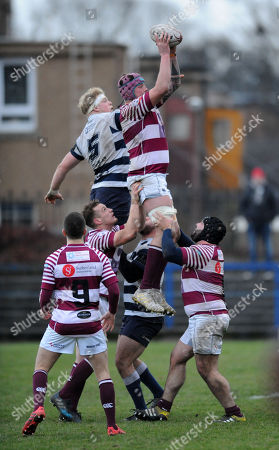 Stock Photo of Craig Borthwick - Watasonians lock wins a line out against opposite number Adam Sinclair.