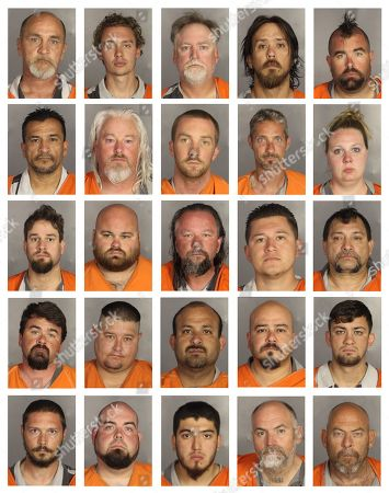Stock Photo of This combination of booking photos provided by the McLennan County Sheriff's office shows people arrested during the motorcycle gang related shooting at the Twin Peaks restaurant in Waco, Texas, . Top row from left to right: John Craft, Ryan Craft, Richard Dauley, Marco Dejong and Jason Dillard. Second row from left to right: Richard Donias, Christopher Eaton, Brian Eickenhorst, James Eney and Morgan English. Third row from left to right: William English, Nate Farish, Don Fowler, Justin Garcia and Lawrence Garcia. Fourth row from left to right: Lance Geneva, Nathan Grindstaff, Valdemar Guajardo, John Guerrero and Bryan Harper. Fifth row from left to right: Arley Harris, Raymond Hawes, Jarron Hernandez, Daniel Johnson and Edgar Kelleher