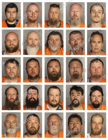 This combination of booking photos provided by the McLennan County Sheriff's office shows people arrested during the motorcycle gang related shooting at the Twin Peaks restaurant in Waco, Texas, . Top row from left to right: Noe Adame, William Aikin, John Arnold, Ronald Atterbury and Colter Bajovich. Second row from left to right: Owen Bartlett, Jeff Battey, Michael Baxley, Timothy Bayless and Richard Benavides. Third row from left to right: Burton Bergman, Ronnie Bishop, Mitchell Bradford, Robert Bucy and Kenneth Carlisle. Fourth row from left to right: Aaron Carpenter, Christopher Carrizal, Jason Cavazos, Rene Cavazos and Nathan Champeau. Fifth row from left to right: Michael Chaney, Matthew Clendennen, Lindell Copeland, Greg Corrales and Roy Covey