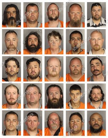 This combination of booking photos provided by the McLennan County Sheriff's office shows people arrested during the motorcycle gang related shooting at the Twin Peaks restaurant in Waco, Texas, . Top row from left to right: Eliodoro Munguia, Doss Murphy, Robert Nichols, Jeremy Ojeda and Joseph Ortiz. Second row from left to right: Anthony Palmer, Melvin Pattenaude, Julie Perkins, Daniel Pesina and Ares Poinix. Third row from left to right: Marcus Pilkington, Anders Ramirez, Kevin Rash, David Rasor and William Redding. Fourth row from left to right: Jacob Reese, Owen Reeves, Theron Rhoten, Kristoffer Rhyne and Robert Robertson. Fifth row from left to right: Craig Rodahl, Christopher Rogers, George Rogers, James Rosas and Gregory Salazar