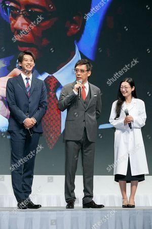 (L to R) Actors Ryoma Takeuchi, Katsuhisa Namase and Mitsu Dan