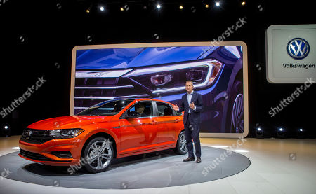 Volkswagen Chairman Herbert Diess presents the new Jetta sedan at the North American International Auto Show, in Detroit