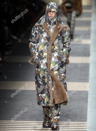 f1d706c91e9 A model presents a creation by Italian label Fendi during the Milan Fashion  Week