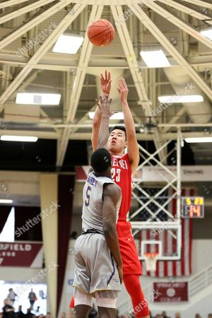 Stock Picture of Mater Dei's Michael Wang #23 takes a jumper against Montverde Academy during a high school basketball game at the Hoophall Classic, in Springfield, MA. Montverde won the game