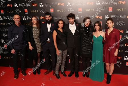 Spanish director and scriptwriter Carla Simon (3-R) poses with cast members of her movie 'Estiu 1993' as they attend the Goya Awards nominees party in Madrid, Spain, 15 January 2018. The Goya Award ceremony, Spanish cinema industry biggest award, will be held 03 February 2018.