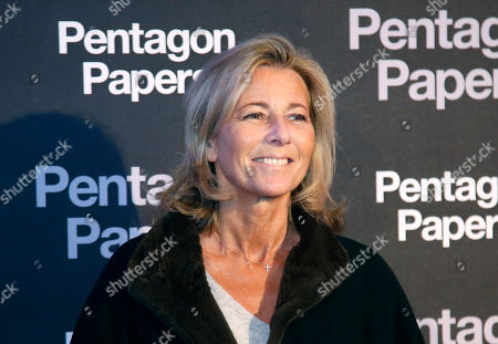 French TV journalist Claire Chazal poses for photographers on arrival at the French premiere of the film 'The Post' in Paris, France, . The title of the French version is 'The Pentagon Papers