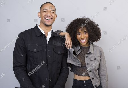 """Peyton 'Alex' Smith, Zoe Renee. Peyton """"Alex"""" Smith, left, and Zoe Renee, cast members in the BET series, """"The Quad,"""" pose for a portrait during the 2018 Television Critics Association Winter Press Tour at the Langham Hotel, in Pasadena, Calif"""