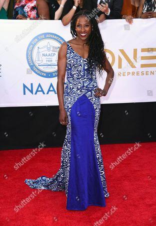 Rutina Wesley arrives at the 49th annual NAACP Image Awards at the Pasadena Civic Auditorium, in Pasadena, Calif