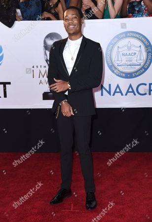 Tyler James Williams arrives at the 49th annual NAACP Image Awards at the Pasadena Civic Auditorium, in Pasadena, Calif