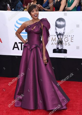 LeToya Luckett arrives at the 49th annual NAACP Image Awards at the Pasadena Civic Auditorium, in Pasadena, Calif