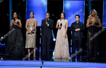 Kerry Washington, Tracee Ellis Ross, Lena Waithe, Jurnee Smollett - Bell, Angela Robinson, Laverne Cox. Kerry Washington, from left, Tracee Ellis Ross, Lena Waithe, Jurnee Smollett - Bell, Angela Robinson, and Laverne Cox present the award for outstanding actress in a motion picture at the 49th annual NAACP Image Awards at the Pasadena Civic Auditorium, in Pasadena, Calif