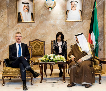 Sheikh Jaber Mubarak Al-Hamad Al-Sabah, Jens Stoltenberg. In this photo made available by NATO, Prime Minister of Kuwait, Sheikh Jaber Mubarak Al-Hamad Al-Sabah, right, meets with NATO Secretary General Jens Stoltenberg, in Kuwait