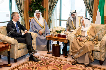 Sheikh Jaber Mubarak Al-Hamad Al-Sabah, Jens Stoltenberg. In this photo made available by NATO, Prime Minister of Kuwait, Emir of Kuwait Sheikh Sabah Al-Ahmad Al-Jaber Al-Sabah, right, meets with NATO Secretary General Jens Stoltenberg, in Kuwait