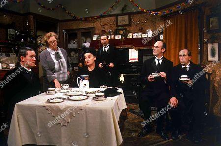 'In Loving Memory'  - Herbert Pardoe [Davyd Harris], Ivy Unsworth [Thora Hird], Hilda Pardoe [Liz Smith], Billy Henshaw [Christopher Beeny], Amso Fiddick [Roger Brierley], Gerald Booth [Milton Johns].