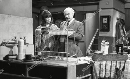 Ep 0033 Monday 12th February 1973 Henry tells Annie that Emmerdale Farm needs a telephone, he asks Peggy to do the accounts for the company - With Henry Wilks, as played by Arthur Pentelow ; Peggy Skilbeck, as played by Jo Kendall.