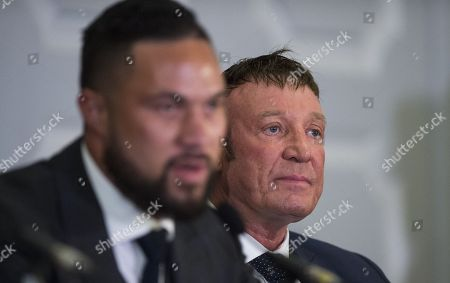 Kevin Barry, Joseph Parker's trainer, during a Press Conference between Anthony Joshua and Joseph Parker ahead of their World Heavyweight title clash.