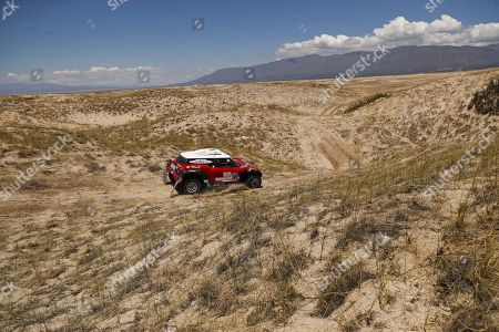 Finnish Mikko Hirvonen of Mini competes  during stage 10 of the Dakar Rally 2018 between Salta and Belen, Argentina, 16 January 2018.