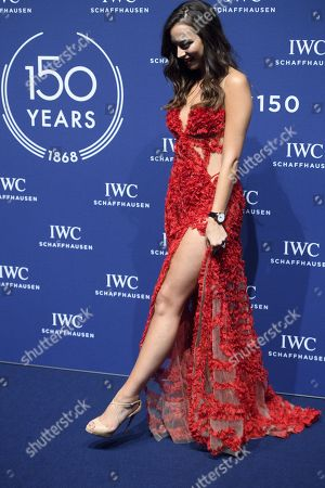 Australian model Monika Radulovic poses on the red carpet before a party for the 150 years of Swiss luxury watch brand  International Watch Co, IWC, on the sideline of  the 28th edition of the Salon International de la Haute Horlogerie, SIHH, International watch fair, in Geneva, 16 January 2018.