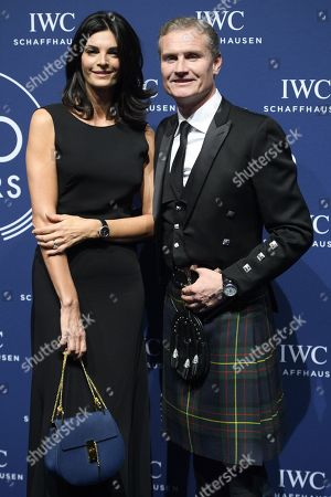 Former Formula One driver David Coulthard from Scotland poses with girlfriend Karen Minier on the red carpet before a party for the 150 years of Swiss luxury watch brand  International Watch Co, IWC, on the sideline of  the 28th edition of the Salon International de la Haute Horlogerie, SIHH, International watch fair in Geneva, 16 January 2018.