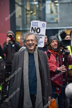 Piers Corbyn. Protest march from Elephant and Castle to Southwark council offices to protest about plans for redevelopment and lack of social housing.