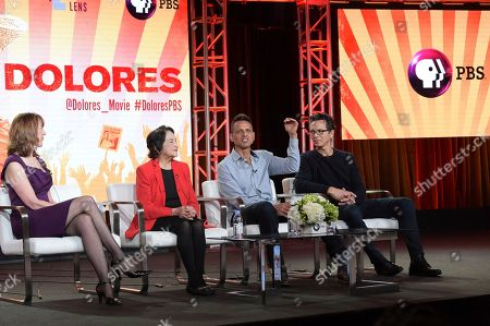 """Lois Vossen, Dolores Huerta, Peter Bratt and Benjamin Bratt. Lois Vossen, from left, Dolores Huerta, Peter Bratt and Benjamin Bratt participate in the """"Dolores"""" panel during the PBS Television Critics Association Winter Press Tour, in Pasadena, Calif"""