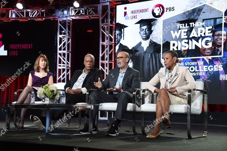 """Lois Vossen, Stanley Nelson, Dr. Michael Lomax, Dr. Mary Schmidt Campbell. Lois Vossen, from left, Stanley Nelson, Dr. Michael Lomax and Dr. Mary Schmidt Campbell participate in the """"Tell Them We Are Rising"""" panel during the PBS Television Critics Association Winter Press Tour, in Pasadena, Calif"""
