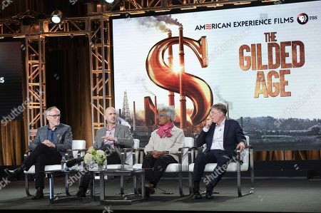 """Stock Photo of Mark Samels, Edward T. O'Donnell, Nell Irvin Painter and Mark Zwonitzer. Mark Samels, from left, Edward T. O'Donnell, Nell Irvin Painter and Mark Zwonitzer participate in the """"The Gilded Age"""" panel during the PBS Television Critics Association Winter Press Tour, in Pasadena, Calif"""