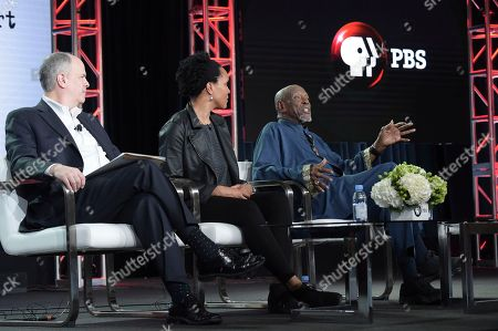 "Michael Kantor, Tracy Heather Strain and Louis Gossett, Jr. Michael Kantor, from left, Tracy Heather Strain and Louis Gossett, Jr. participate in the ""Sighted Eyes Feeling Heart"" panel during the PBS Television Critics Association Winter Press Tour, in Pasadena, Calif"