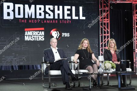 """Michael Kantor, Alexandra Dean and Danijela Cabric. Michael Kantor, from left, Alexandra Dean and Danijela Cabric participate in the """"Bombshell"""" panel during the PBS Television Critics Association Winter Press Tour, in Pasadena, Calif"""