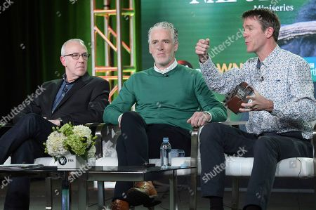 """Fred Kaufman, Gordon Buchanan and Dan Rees. Fred Kaufman, from left, Gordon Buchanan and Dan Rees participates in the """"Animals With Cameras"""" panel during the PBS Television Critics Association Winter Press Tour, in Pasadena, Calif"""