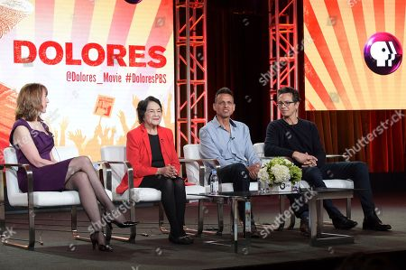 "Lois Vossen, Dolores Huerta, Peter Bratt and Benjamin Bratt. Lois Vossen, from left, Dolores Huerta, Peter Bratt and Benjamin Bratt participate in the ""Dolores"" panel during the PBS Television Critics Association Winter Press Tour, in Pasadena, Calif"