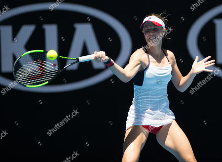 Olivia Rogowska (AUS) in action during her second round match with Marta Kostyuk (UKR).  Australian Open Tennis Championships, Melbourne Park, Melbourne, Australia.17th January 2018.