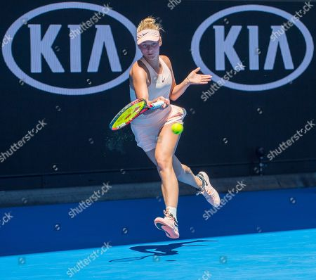 Fifteen year old Marta Kostyuk (UKR) in action during her second round match with Olivia Rogowska (AUS).  Australian Open Tennis Championships, Melbourne Park, Melbourne, Australia.17th January 2018.