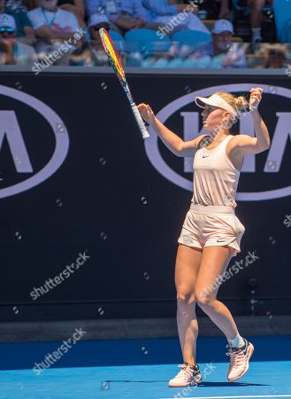 Fifteen year old Marta Kostyuk (UKR) celebrates match point during her second round match with Olivia Rogowska (AUS).  Australian Open Tennis Championships, Melbourne Park, Melbourne, Australia.17th January 2018.