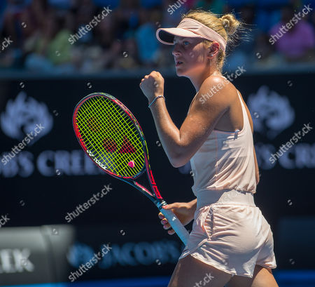 Stock Picture of Fifteen year old Marta Kostyuk (UKR) celebrates a winning point during her second round match with Olivia Rogowska (AUS).  Australian Open Tennis Championships, Melbourne Park, Melbourne, Australia.17th January 2018.