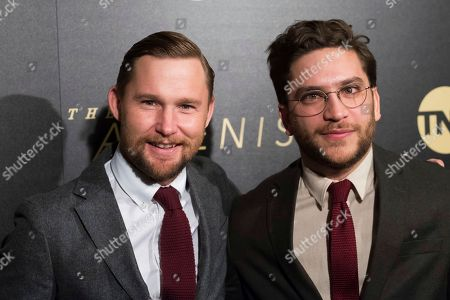 "Brian Geraghty, Matthew Shear. Brian Geraghty, left, and Matthew Shear attend the premiere of TNT's ""The Alienist"" at iPic Theaters, in New York"