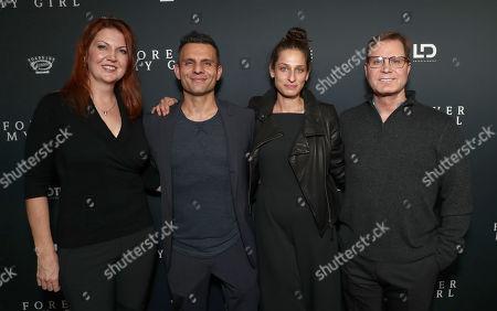Stock Photo of EP Alison Semenza King,, Producer Pete Shilaimon, LD's VP Development Jennifer Monroe and Producer Micky Liddell