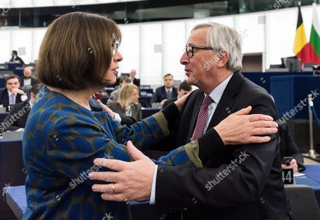 Stock Picture of Jean-Claude Juncker and Rebecca Harms