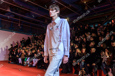ea1b0d9b1c46 A Model presents a creation from the Fall Winter 2018 19 Men s collection by