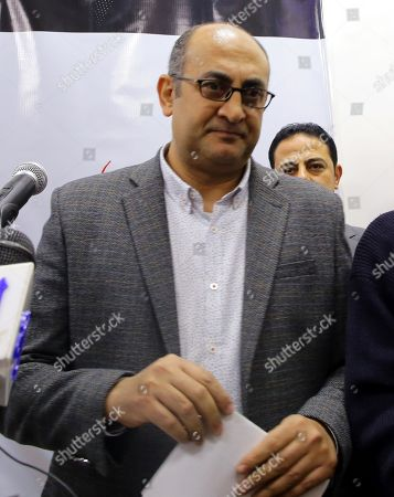 Egyptian human rights lawyer Khaled Ali leaves after his press conference in Cairo, Egypt, 17 January 2018. Former Presidential candidate and human rights lawyer Khaled Ali announced that he will countiune his run as a candidate in the 2018 presidential elections in Egypt as long as he is not barred from applying. He announced that his campaign is still collecting the 25 thousand required nomination forms from eligible voters -most of which are from youth supporters-, and plans to submit them to the Egyptian high elections commission on 25 January 2018, on the seventh anniversary of the 25 January uprising that toppled former Egyptian President Hosni Mubarak.