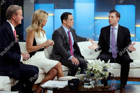 "Eric Trump, Steve Doocy, Ainsley Earhardt, Brian Kilmeade. Eric Trump, right, appears on the ""Fox & friends"" television program, with co-hosts Steve Doocy, from left, Ainsley Earhardt and Brian Kilmeade, in New York"