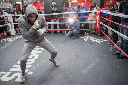 Lamont Peterson warms up during a workout at Gleason's Gym, in the Brooklyn borough of New York. Peterson faces Errol Spence Jr. on Saturday in Brooklyn, for Spence's IBF welterweight title