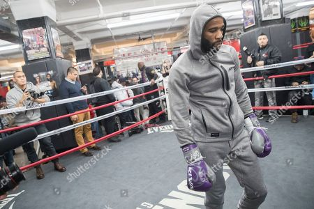 Lamont Peterson walks in the ring during a workout at Gleason's Gym, in the Brooklyn borough of New York. Peterson faces Errol Spence Jr. on Saturday in Brooklyn, for Spence's IBF welterweight title