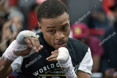 Errol Spence Jr. warms up during a work out at Gleason's Gym, in the Brooklyn borough of New York. Spence is slated to defend his IBF welterweight title against Lamont Peterson on Saturday in Brooklyn
