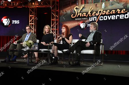 "Stephen Segaller, Helen Hunt, Nicola Stockley, Richard Denton. Stephen Segaller, from left, Helen Hunt, Nicola Stockley and Richard Denton participate in the ""Shakespeare Uncovered"" panel during the PBS Television Critics Association Winter Press Tour, in Pasadena, Calif"