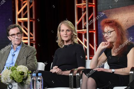 "Stephen Segaller, Helen Hunt, Nicola Stockley. Stephen Segaller, from left, Helen Hunt and Nicola Stockley participate in the ""Shakespeare Uncovered"" panel during the PBS Television Critics Association Winter Press Tour, in Pasadena, Calif"