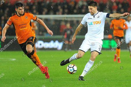Alfred N'Diaye of Wolverhampton Wanderers  battles with Federico Fernandez of Swansea City- Mandatory by-line: Nizaam Jones/JMP- 17/01/2018