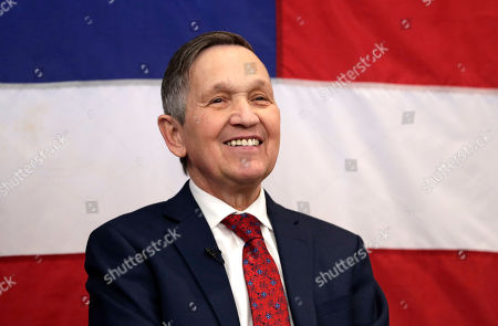 Former U.S. Rep. Dennis Kucinich smiles before speaking at a news conference announcing his run for Ohio governor, in Middleburg Heights, Ohio. Kucinich said he would muster state resources to fight poverty and violence, boost arts and education and expand economic opportunity