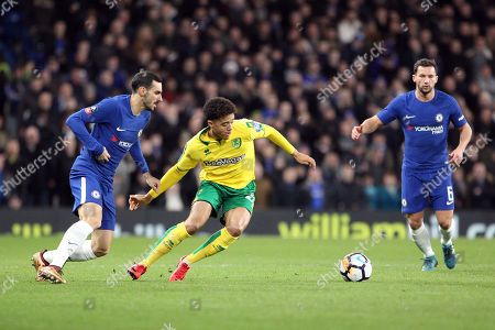 Matthew Jarvis of Norwich City under pressure from Davide Zappacosta of Chelsea during Chelsea vs Norwich City, Emirates FA Cup Football at Stamford Bridge on 17th January 2018